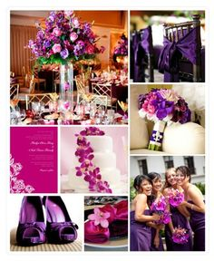 Purple and Pink wedding theme.  I love the bridesmaids and the purple shoes!