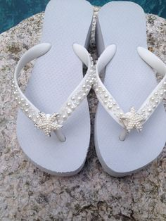 14e77e8504965f Wedding Flip Flops Wedges Sandals for Bride Bridesmaids.White Bridal Flip  Flops.Flip Flops with PEARLS.Starfish. Beach Weddings.