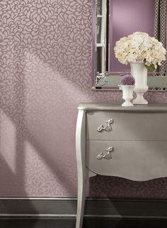 Lotus Wallpaper in Plum design by Carey Lind for York Wallcoverings
