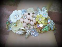 Bridal Wedding Stunning Floral Rosary Bead Vintage Floral Cluster Assemblage Rhinestone Bracelet. $75.00, via Etsy.