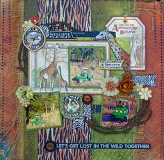 Scraps Of Darkness Scrapbook kits:  masculine / zoo layout created with our Safari Kit, featuring Graphic 45 and Kaisercraft, by Kathy Mosher.