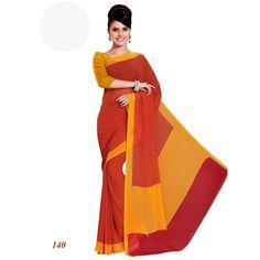 Party Wear Georgette Red Saree - RKAM140
