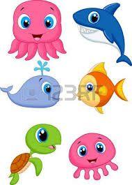 Resultado De Imagen Para Dibujos Animados De Peces Y Animales Marinos Cartoon Sea Animals Baby Animal Drawings Sea Animals Drawings