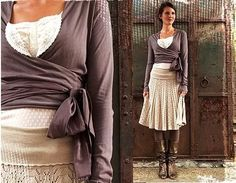 The wrap top, skirts, boots, neutral colour