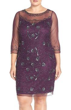 Plus Size Womens Pisarro Nights Beaded Sheath Dress Size 20W - Purple $178.00 AT vintagedancer.com