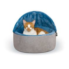 "K&H Manufacturing Self-Warming Kitty Hooded Bed Size: Small (16"" W x 16"" D x 12.5"" H), Color: Gray/Blue"