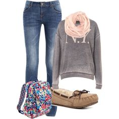 Lazy day outfit for fall and winter fashion cute everything. where do u get a bag like that??