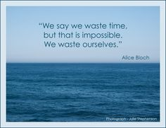 """We say we waste time, but that is impossible. We waste ourselves."" - Alice Bloch"