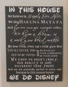In This House We Do Disney  Customizeable Sign by TheScrapbookerie