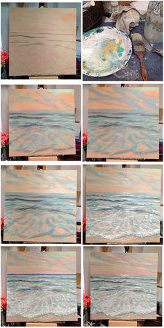 Painting tutorial of ocean scene - - Visit the post for more. Canvas Painting Tutorials, Easy Canvas Painting, Simple Acrylic Paintings, Acrylic Painting Techniques, Diy Canvas Art, Art Techniques, Painting & Drawing, Pour Painting, Seascape Paintings