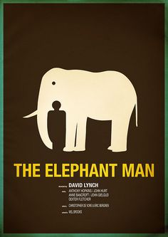 This is another poster using figure and ground to represent the idea ' the elephant man'. We can see it is simple that just have two images: elephant and human. Best Movie Posters, Minimal Movie Posters, Minimal Poster, Cinema Posters, Image Cinema, Cinema Tv, Great Films, Good Movies, Elephant Man