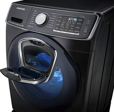 Save time and energy by choosing this Samsung High Efficiency Front Load Washer with Steam and AddWash Door in Black Stainless Steel, ENERGY STAR. Smart Home Technology, Futuristic Technology, Technology Design, Computer Technology, Technology Gadgets, Tech Gadgets, Samsung Washer, Front Load Washer, Nanotechnology
