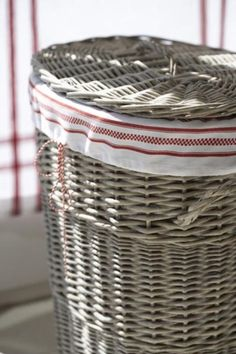 gorgeous rustic basket and grain sack stripe ---my layndry basket