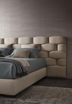 Double #bed with upholstered headboard MAJAL by Flou | #design Carlo Colombo @flouspa