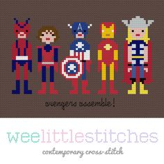 Avengers Cross-Stitch Pattern for FREE! Check out the Freebies section for more from kitschydigitals.com. (You must checkout with free item in cart to get download.)