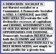Democratic Socialist basically tries to keep Capitalism from being a Ponzi scheme.