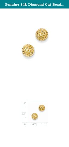 Genuine 14k Diamond Cut Bead Post Earrings 8 x8mm. Product Type:Jewelry|Jewelry Type:Earrings|Earring Type:Ball|Material: Primary:Gold|Material: Primary - Color:Yellow|Material: Primary - Purity:14K|Length of Item:8 mm|Width of Item:8 mm|Thickness:8 mm|Earring Closure:Post & Push Back.