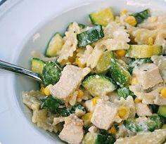 Basil Ricotta Pasta w/corn and zucchini