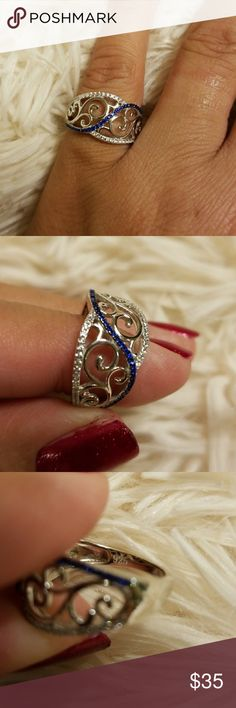 Sterling Silver with blue vines, CZ ring Sterling silver 925, beautiful CZ ring size 6 Jewelry Rings