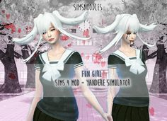 yandere yansim simulator sims4 sims4 sims 4 mod hair twintails white fungirl fun girl easteregg horror idk lol