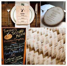 mariage automne menu carte faux bois, tableau, bouchon de liège porte carte, rondin gravé