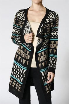 Women Multi Colors Aztec Print Open Front Knit Cardigan S / Black - TheLovely.com - 1