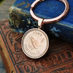 1949 Keyring Farthing Birth Year - Birthday - Coin Keyring Mens Birthday Anniversary Present Gift Copper Anniversary Gifts, Paper Anniversary, Anniversary Gifts For Him, 70th Birthday Gifts, Man Birthday, Gifts For Husband, Gifts For Boys, Birth Year, Present Gift