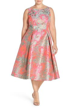 Adrianna Papell Metallic Jacquard Fit & Flare Midi Dress (Plus Size) Plus Size Womens Clothing, Plus Size Fashion, Clothes For Women, Midi Dress Plus Size, Plus Size Dresses, Plus Size Suits, Fit And Flare Wedding Dress, Metallic Dress, Lovely Dresses