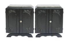 French Pair Art Deco Side Cabinets Ebonised Bedside Tables Nightstand
