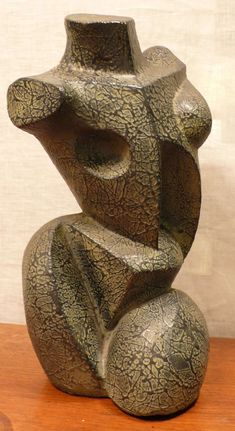 Cubist torso of modeled clay with texture-painted surface by German/American artist Peter Lipman-Wulf (1905-93) executed c. 1950.
