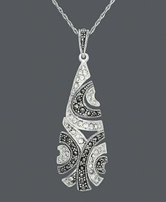 Genevieve & Grace Sterling Silver Necklace, Marcasite and Crystal Teardrop Swirl Pendant - Necklaces - Jewelry & Watches - Macy's