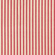 A charming traditional ticking stripe in cherry red on a cream background. Buy this beautiful fabric by the yard - limited supply! Vertical Repeat N/A, Horizontal Repeat 0.4 Width 54 100% Cotton Medium Weight Dry Clean NOTE: We cut continuous from the bolt. Enter the quantity of continuous yards you want.
