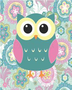Teal, Pink and Yellow Girl's Owl Bedroom or Girl's Owl Nursery LJBrodock, $10.00j Girl's woodland nursery, girl's nursery decor, girl's owl nursery