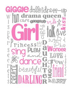 All Girl Subway Art for Nursery or Bedroom by MyPoshDesigns, $8.00