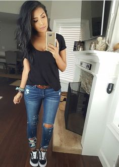 Pin by Janelle on Outfit Ideas in 2019 Mode Outfits, Jean Outfits, Casual Outfits, Fashion Outfits, Casual Wear, Fall Winter Outfits, Spring Outfits, Spring Clothes, Mode Style