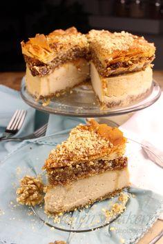 Vegan Maple Baklava Cheesecake - Gretchen's Vegan Bakery recipes classic recipes easy recipes easy homemade recipes easy philadelphia recipes new york recipes no bake Baklava Cheesecake, Caramel Cheesecake, Cheesecake Recipes, Vegan Cheesecake, Classic Cheesecake, Homemade Cheesecake, Vegan Baklava, Baklava Recipe, Easy Cake Recipes