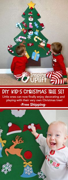 Simply hang our DIY Kid's Christmas Tree Set on the wall and let them enjoy decorating their own little tree over and over again! Christmas Trees For Kids, Diy Felt Christmas Tree, Christmas Crafts For Toddlers, Christmas Crafts For Gifts, Toddler Christmas, Christmas Activities For Preschoolers, Christmas Gift Inspiration, Creation Deco, Young Children