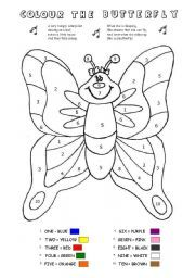 English worksheet: COLOUR BY NUMBERS - BUTTERFLY