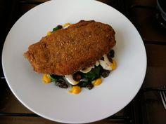 Gordon bleau  de  poulet  epinards   champignons   olive  noir  et  sauce  creme de  carottes     Gino D'Aquino