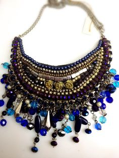 Statement Boho style Necklace - dark blut crystal purple and turquois beads- with silver plated chain - hand made. by RachelGefenDesigns on Etsy https://www.etsy.com/il-en/listing/450576872/statement-boho-style-necklace-dark-blut