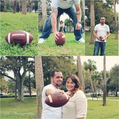 Fun couple poses for sports lovers - football fans - SJG Photography - www.thriftiestcreations.com