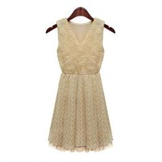$16.75 Ladylike Style V-Neck Sleeveless Chiffon 3D Embroidery Dress For Women
