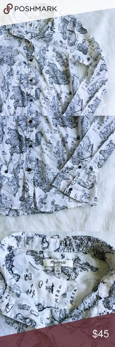 Madewell Shrunken Boy Shirt in Mapview Super cute (and hard to find!) map print button down boy shirt from Madewell. Perfect condition, just a little wrinkly from storage. Size small. Could fit an XS as well due to the shrunken fit. -----------  Our favorite shrunken boyshirt fit done up in a fantastical map print of our own making. (Note the Sea of Mesa, a fictional body of water named after one of our designers' cats.) •Shrunken fit. •Cotton. Madewell Tops Button Down Shirts