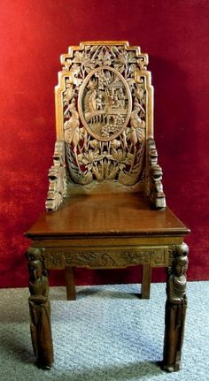 c7d996f51a9d7 Antique Carved Foo Dogs Chair withintricate Asian Theme Wood  1250 OBO  Asian Chairs