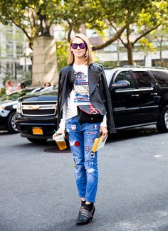 Patched denim has a seriously cool rock and roll feel when paired with a leather jacket // #Denim