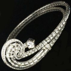 Trifari 'Alfred Philippe' Invisibly Set Diamante and Baguette Scroll Sprung Spiral Choker Necklace 1950