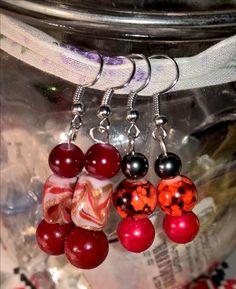 red-orange-drone-hematite earrings