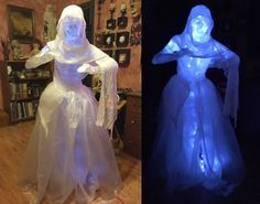 There are a lot of cool ghosts I've seen made by haunters and artists. While I love some of the ones created by chicken wire and cheesecloth, the packaging tape method appeared to be the easi… Halloween Prop, Casa Halloween, Halloween 2016, Outdoor Halloween, Halloween Ghosts, Diy Halloween Decorations, Holidays Halloween, Halloween Crafts, Happy Halloween