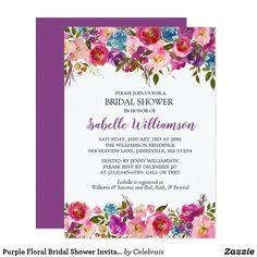 Purple Floral Bridal Shower Invitation Template
