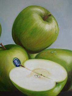 Oleo. Manzanas verdes. Viviana Larrain